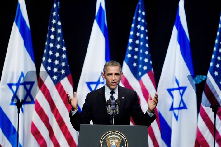 JERUSALEM, ISRAEL - MARCH 21: (ISRAEL OUT) U.S. President Barack Obama speaks to Israeli students at the International Convention Center on March 21, 2013 in Jerusalem, Israel. This is Obama's first visit as president to the region and his itinerary includes meetings with the Palestinian and Israeli leaders as well as a visit to the Church of the Nativity in Bethlehem. (Photo by Uriel Sinai/Getty Images)