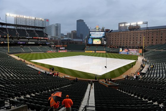 BALTIMORE, MD - APRIL 08:  A tarp covers the field before the game between the Baltimore Orioles and the Texas Rangers at Oriole Park at Camden Yards on April 8, 2011 in Baltimore, Maryland. The start of the game has been delayed due to rain. (Photo by Greg Fiume/Getty Images)