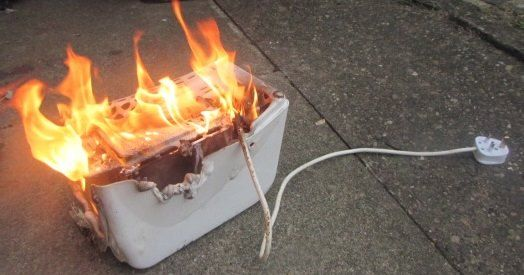 Image result for toaster on fire