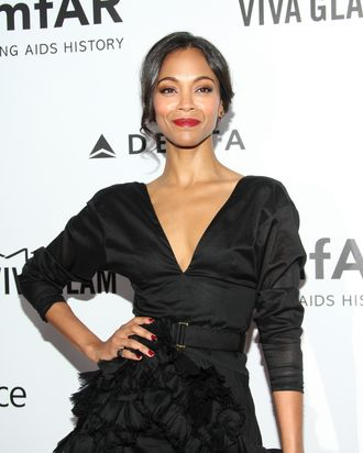 LOS ANGELES, CA - DECEMBER 12: Actress Zoe Saldana attends the 2013 amfAR Inspiration Gala Los Angeles at Milk Studios on December 12, 2013 in Los Angeles, California. (Photo by Mike Windle/Getty Images)