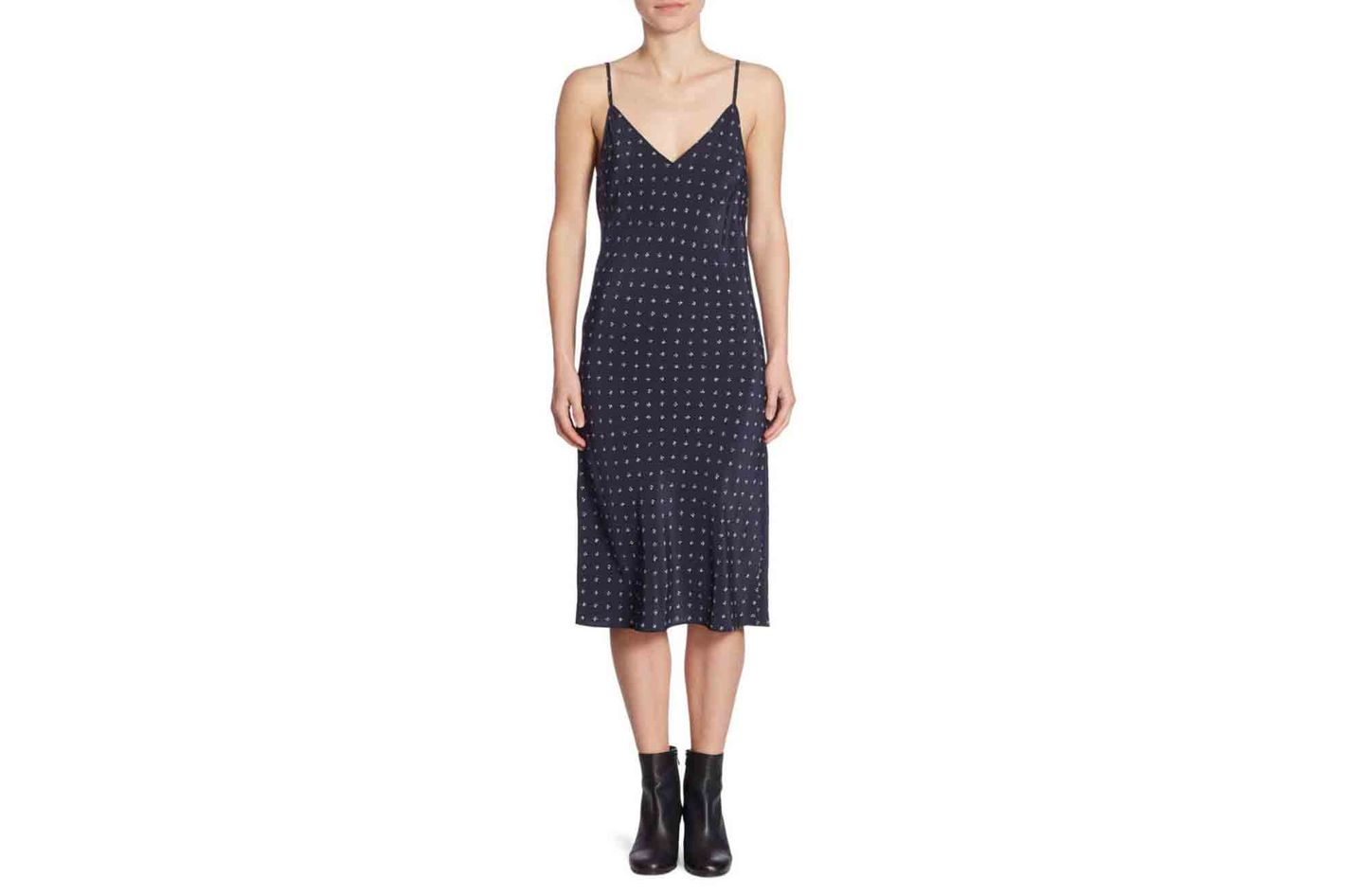 Vince Dotted Silk Slip Dress