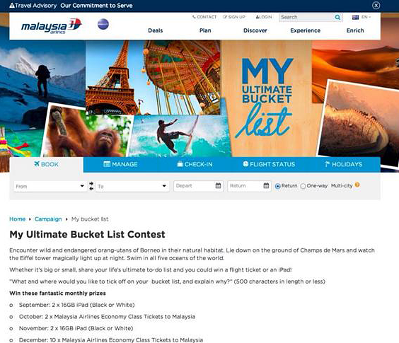 Malaysia Airlines Thinks Better of 'Bucket List' Contest