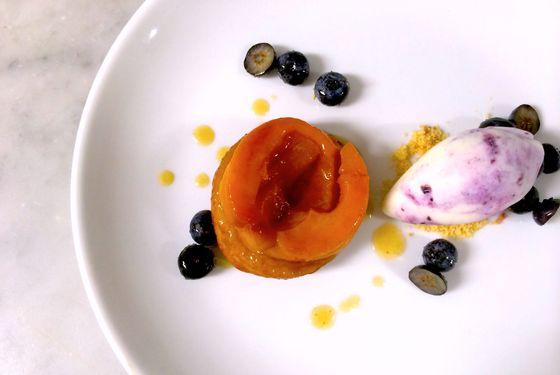 Meadowsweet's white-peach tarte tatin.