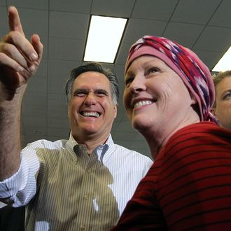 CLEVELAND, OH - MARCH 02: Republican presidential candidate and former Massachusetts Gov. Mitt Romney greets supporters during a campaign rally at Cleveland State University's Cole Center on March 2, 2012 in Cleveland, Ohio. After winning the Michigan and Arizona primaries, Mitt Romney is campaigning in Washington and Ohio ahead of the Super Tuesday primaries MArch 6. (Photo by Justin Sullivan/Getty Images)