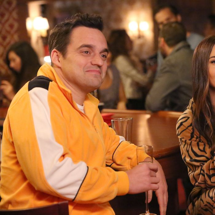 "NEW GIRL: L-R: Jake Johnson and guest star Megan Fox in the ""The Decision"" episode of NEW GIRL airing Tuesday, Feb. 23 (8:00-8:30 PM ET/PT) on FOX.©2016 Fox Broadcasting Co. Cr: Patrick McElhenney/FOX"