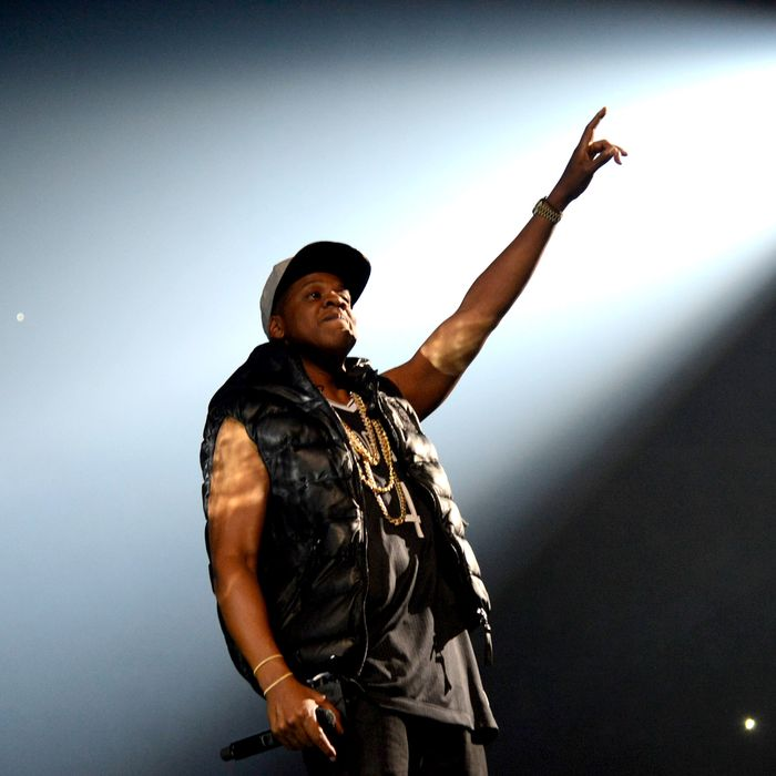 NEW YORK, NY - SEPTEMBER 28: Jay-Z performs at Barclays Center of Brooklyn on September 28, 2012 in New York City. (Photo by Kevin Mazur/WireImage)