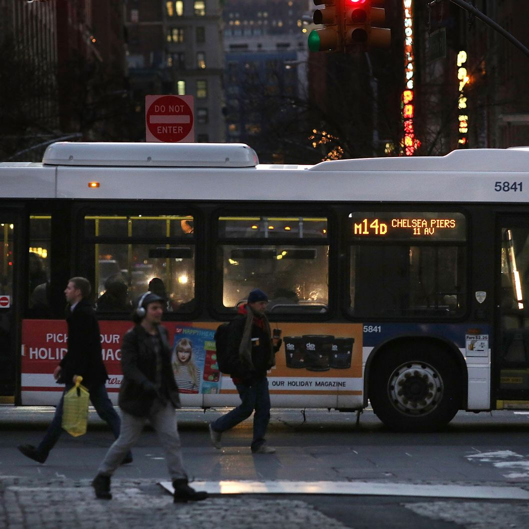 NEW YORK, NY - DECEMBER 19:  A crosstown bus makes its way through Union Square on December 19, 2012 in New York City. Following the recommendation of outgoing Chairman Joseph Lhota, the Metropolitan Transportation Authority (MTA) board approved fare and toll hikes Wednesday. The hikes, which will go into effect in March, include raising the base fare from $2.25 to $2.50, the 7-day MetroCard from $29 to $30 and the 30-day MetroCard from $104 to $112.  (Photo by Spencer Platt/Getty Images)