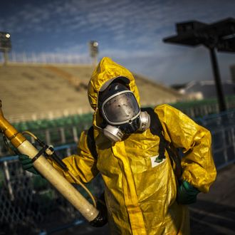 Workers Fumigate The Sambadrome To Protect Against The Zika Virus Ahead Of Carnival
