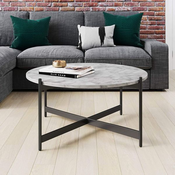 Nathan James Piper Faux White Marble Round Coffee Table