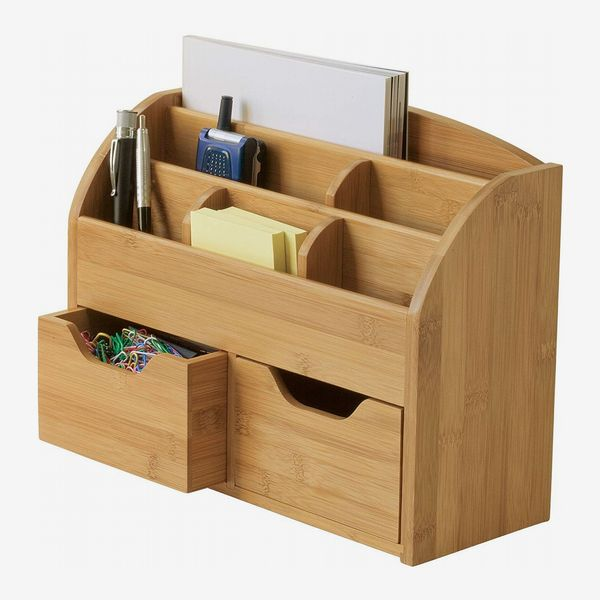 Lipper International Bamboo Wood Space-Saving Desk Organizer