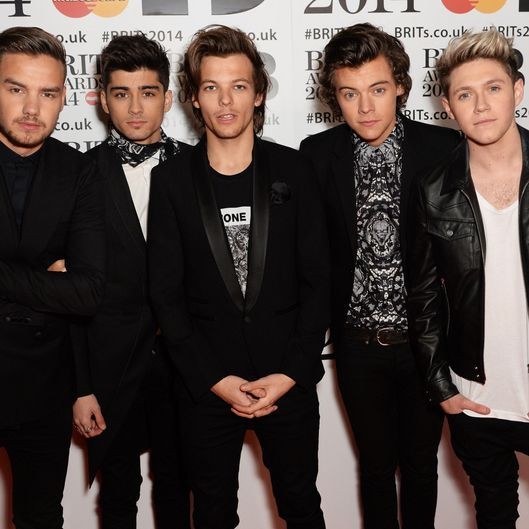 LONDON, ENGLAND - FEBRUARY 19:  Zayn Malik, Harry Styles, Louis Tomlinson, Liam Payne and Niall Horan of One Direction attend The BRIT Awards 2014 at The O2 Arena on February 19, 2014 in London, England.  (Photo by Dave J Hogan/Getty Images)
