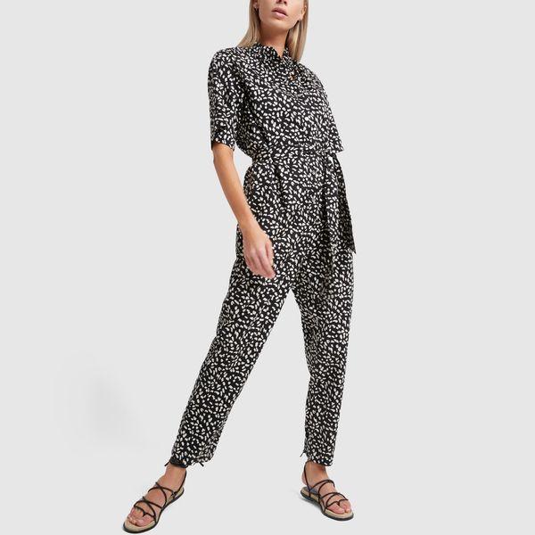 Rebecca Taylor La Vie Short Sleeve Le Jaguar Jumpsuit