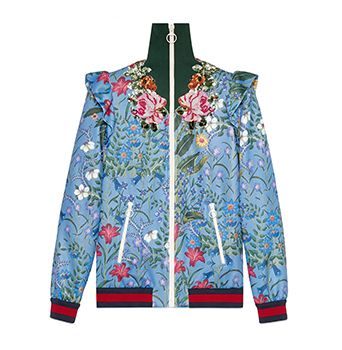 Embroidered New Flora Print Jersey Jacket