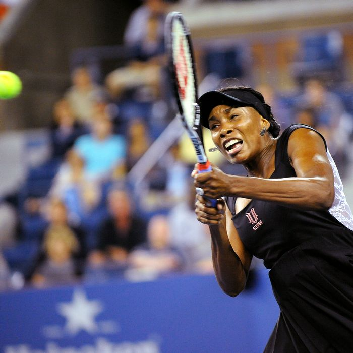 US tennis player Venus Williams returns a shot against Russia's Vesna Dolonts during their US Open 2011 match.