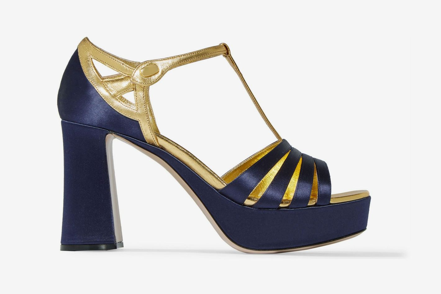 Miu Miu Satin and metallic leather platform sandals
