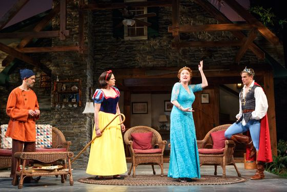 """L-R: Shalita Grant, Kristine Nielsen, Genevieve Angelson, David Hyde Pierce, Sigourney Weaver, and Billy Magnussen in """"Vanya and Sonia and Masha and Spike"""""""
