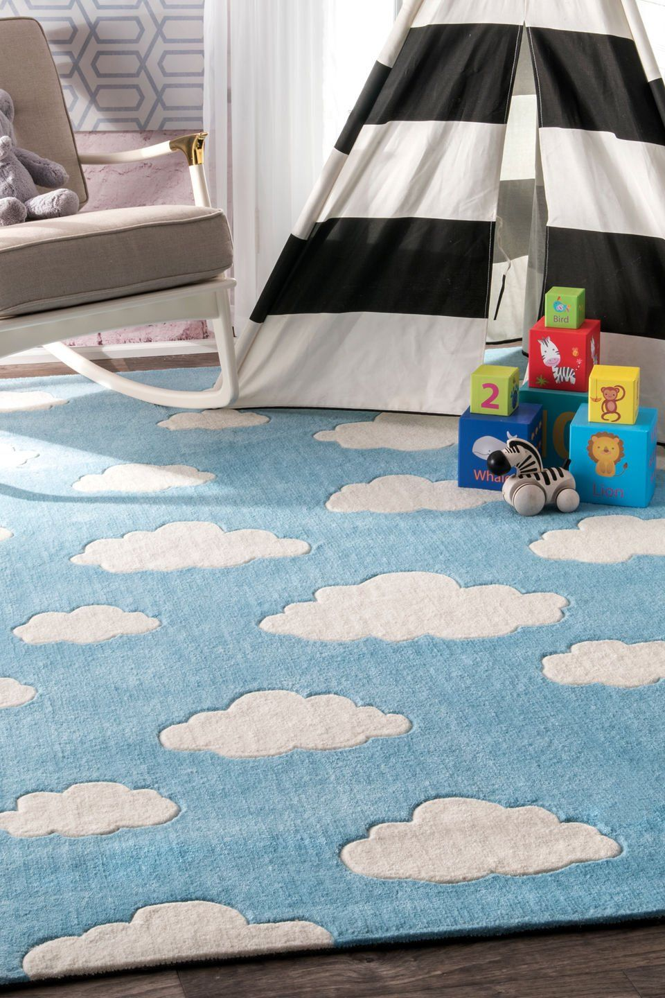 nuLOOM Hand Tufted Cloudy Kids Rug, 5' Round, Blue