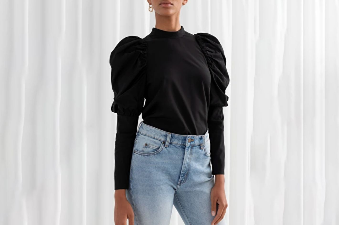 & Other Stories Puff Shoulder Mock Neck Blouse