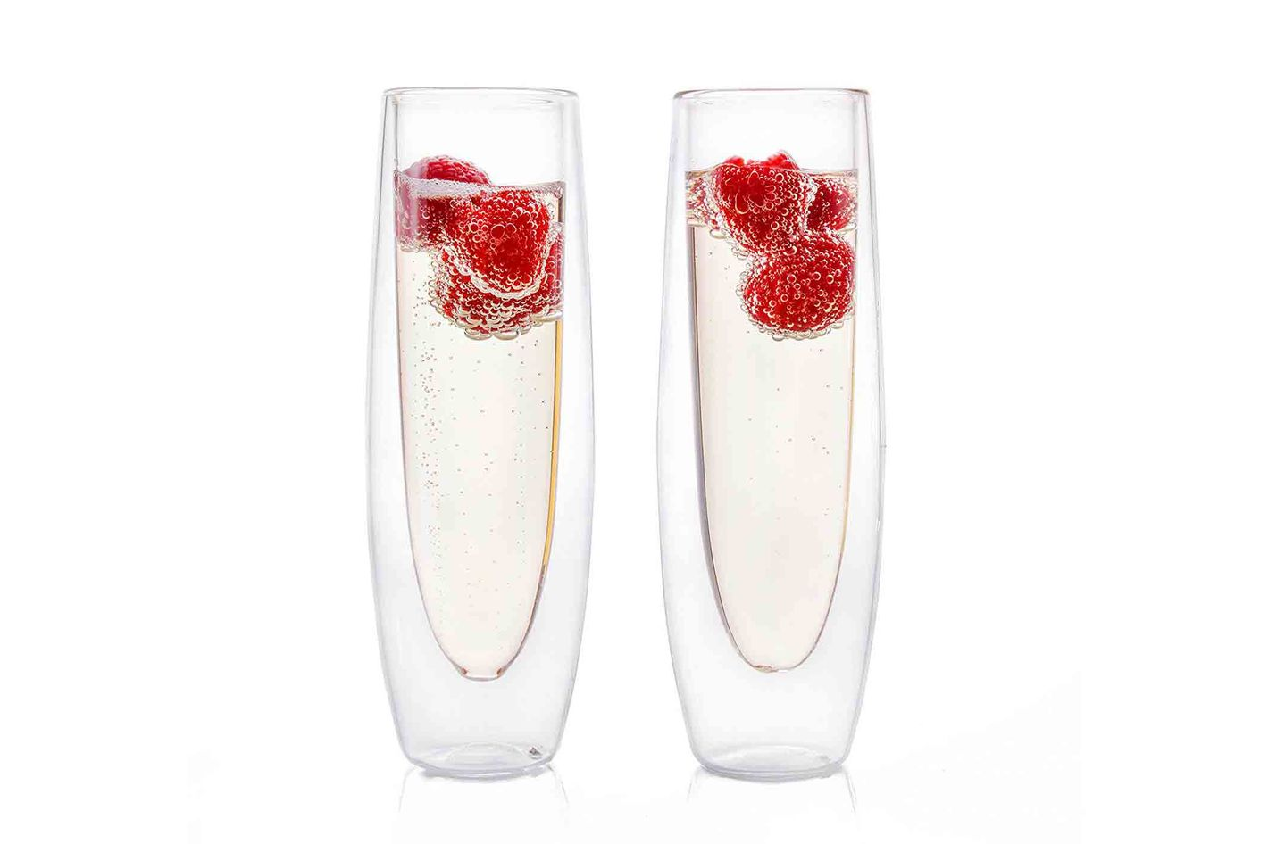 Eparé Champagne Flutes, Insulated Stemless Glass Set