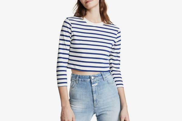 Hanes x Karla Long Sleeve Striped Crop Tee Off White/Navy