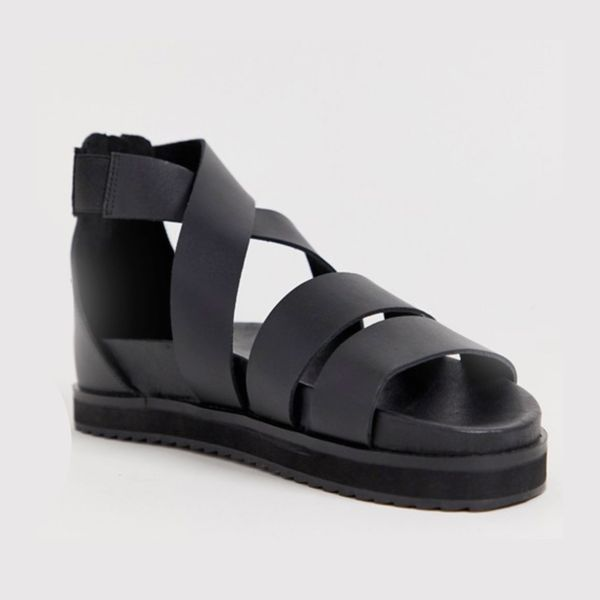 ASOS DESIGN Gladiator Sandals in Black Leather With Chunky Sole
