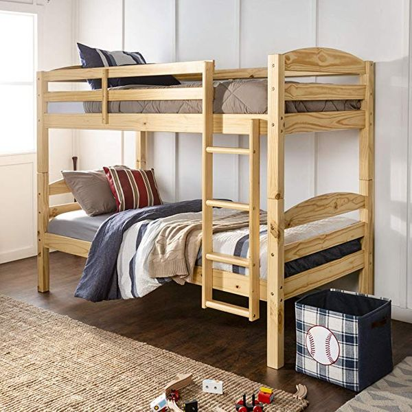 WE Furniture AZWSTOTNL Twin Bunk Bed, Natural