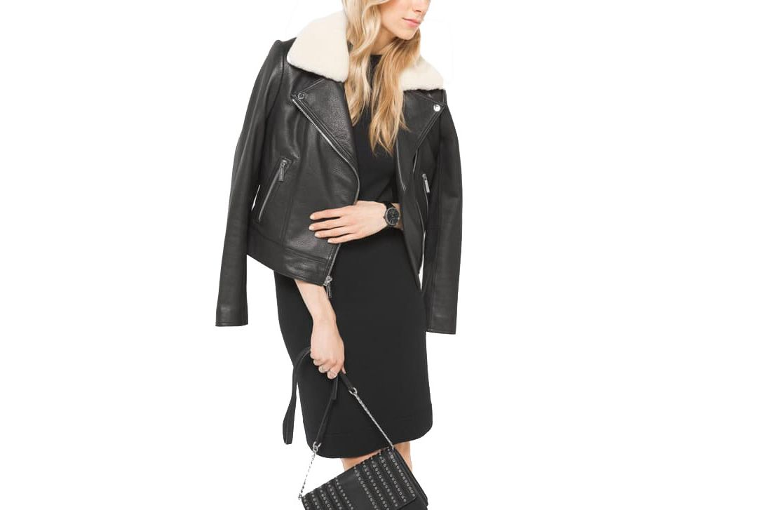 Michael Kors Shearling-Collar Leather Moto Jacket