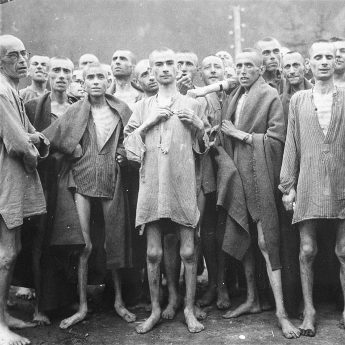 Starved prisoners, nearly dead from hunger, pose in concentration camp May 7, 1945 in Ebensee, Austria. The camp was reputedly used for