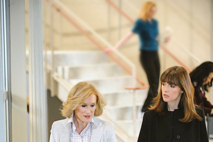 """Glenn Close and Rose Byrne are pictured during the production of """"Damages"""" in New York on March 10, 2011. Photo: David M. Russell/Sony Pictures Television"""