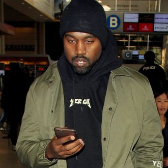 Kanye West is spotted at Los Angeles International Airport