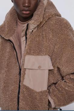 Zara Contrasting Fleece Jacket