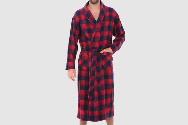 Alexander Del Rossa Men's Lightweight Flannel Robe, Soft Cotton Kimono