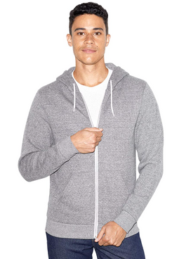 American Apparel Peppered Fleece Long Sleeve Zip Hoodie