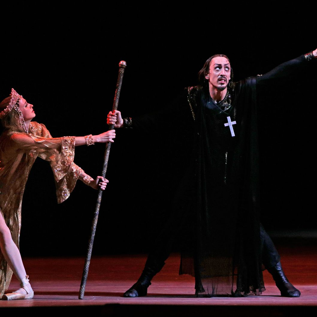 FILE - In this Sunday, Nov. 4, 2012 file photo, Russian dancer Pavel Dmitrichenko, as Ivan the Terrible, right, and ballerina Anna Nikulina as Anastasia, wife of Ivan the Terrible perform at a dress rehearsal of Ivan the Terrible (Russian Tsar Ivan the Terrible) in the Bolshoi Theater in Moscow, Russia. The Russian Interior Ministry says police are searching the home of a star of the Bolshoi Ballet, Pavel Dmitrichenko, known for his role as tsar Ivan the Terrible, the Interior Ministry said Tuesday March 5, 2013, in connection with the acid attack on the company's artistic director, and have detained another man on suspicion of carrying out the attack.