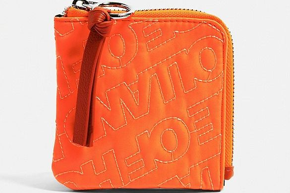 House Of Holland Neon Orange Embroidered Zip Wallet