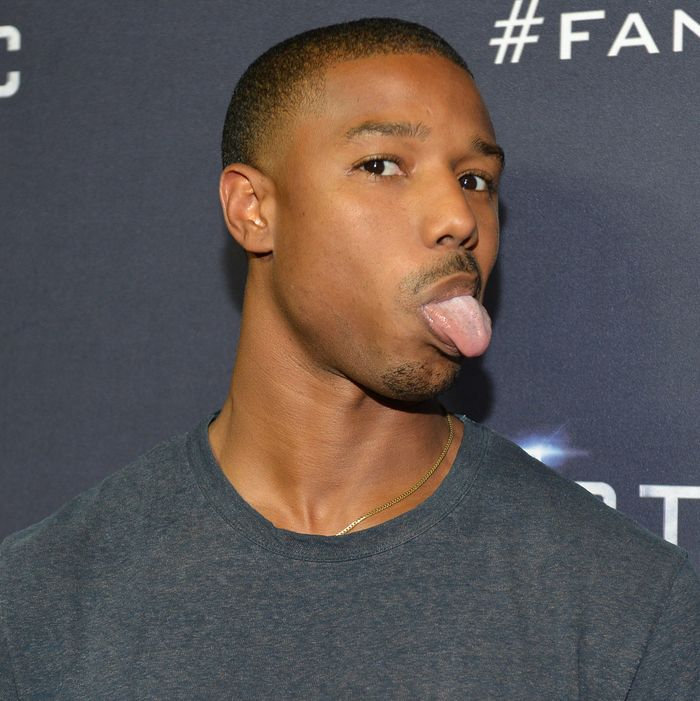 A man, Michael B. Jordan, and his tongue.