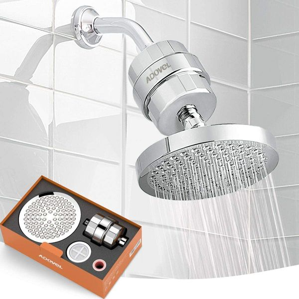 ADOVEL High Output Shower Head and Hard Water Filter