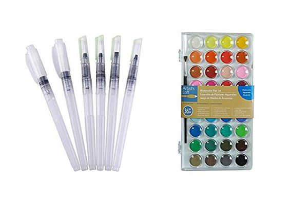 Mudder Watercolor Brush Pen Water Paintbrush, Assorted Brush Tips, 6 Pieces
