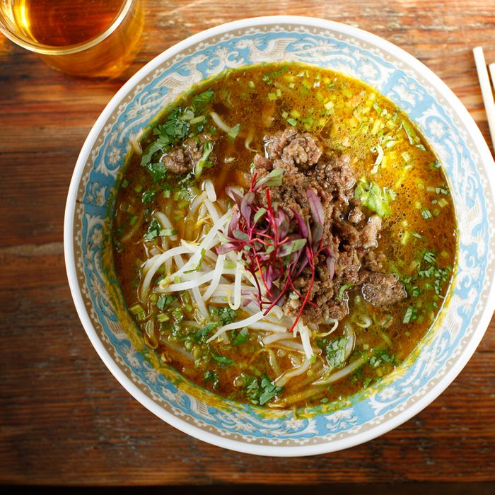 Curry-spiced ramen with chicken and seafood broth, minced beef, and bean sprouts.