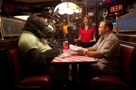 "Kevin James, right, and Jackie Sandler star in Columbia Pictures' comedy ""Zookeeper."""