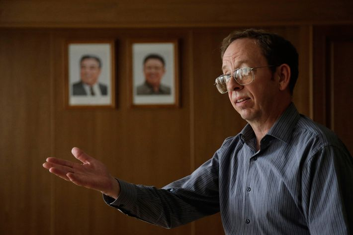 FILE - In this Sept. 1, 2014 file photo, Jeffrey Fowle, an American detained in North Korea, speaks to the Associated Press, in Pyongyang, North Korea. A trial is expected soon for Fowle, who entered the North as a tourist but was arrested in May for leaving a Bible at a provincial club. (AP Photo/Wong Maye-E, File)