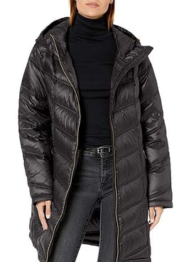 Calvin Klein Women's Hooded Chevron Quilted Packable Down Jacket