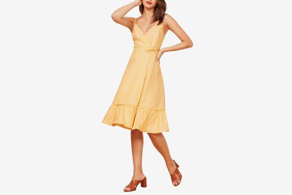Reformation Fig Linen Wrap Dress