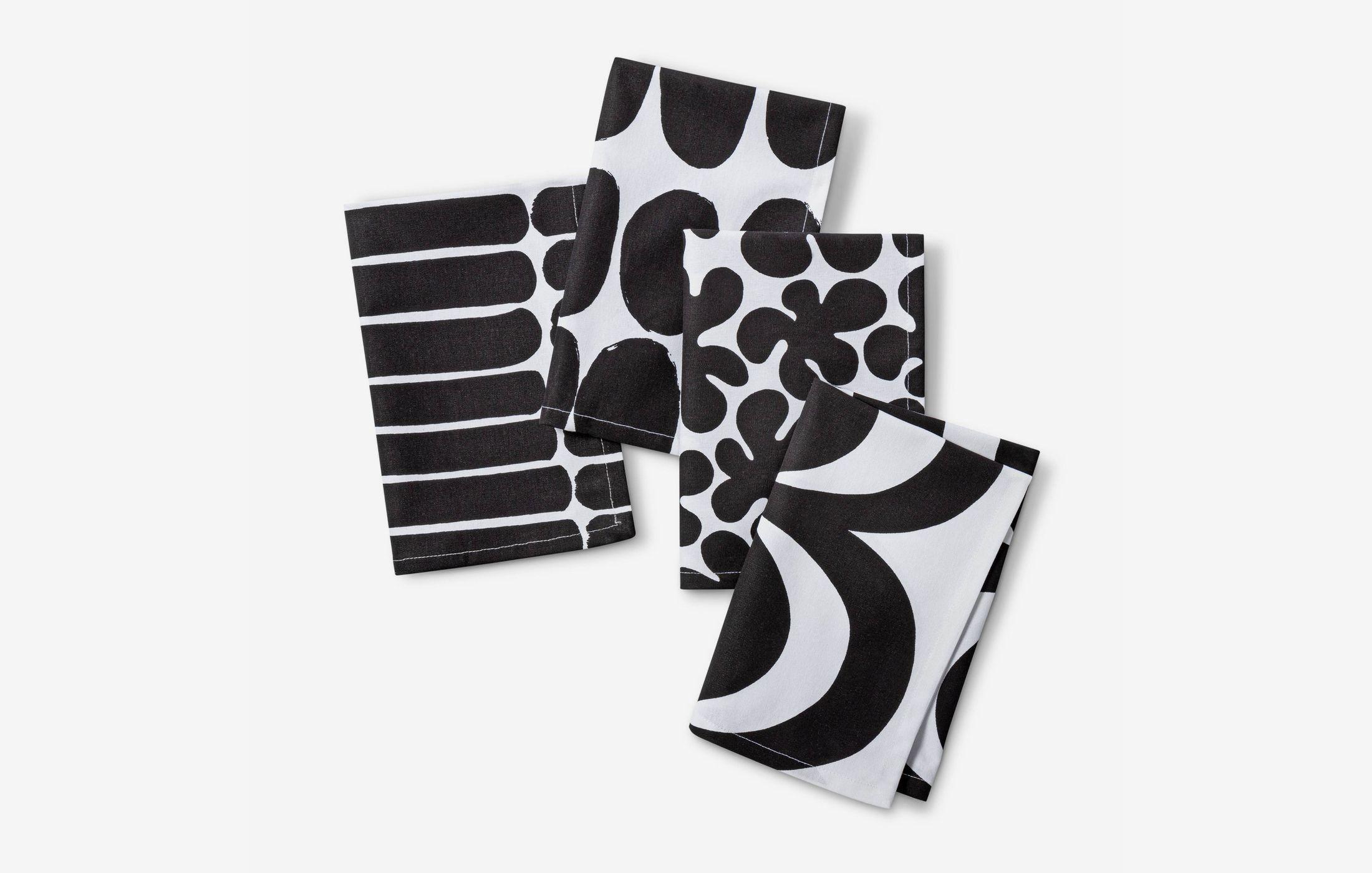 "Marimekko for Target 4pk 20""x20"" Cotton Napkin Set White/Black"
