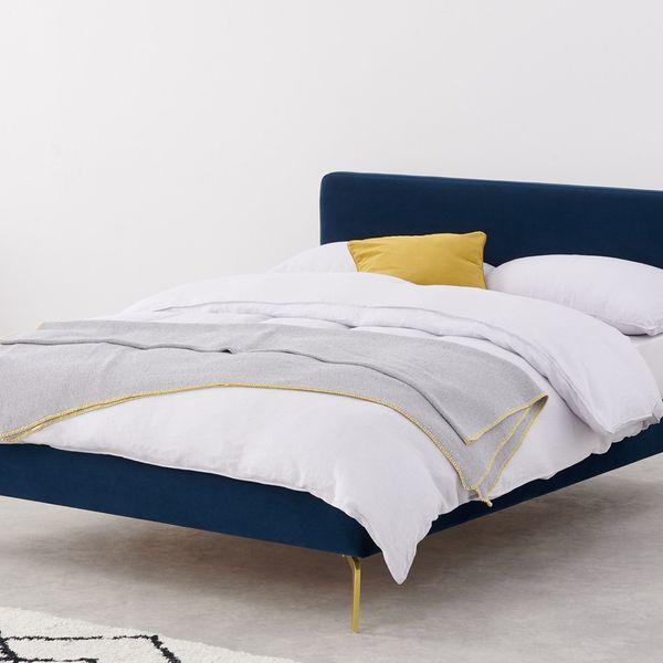 Kida King Size Bed, Royal Blue Velvet and Brass Legs