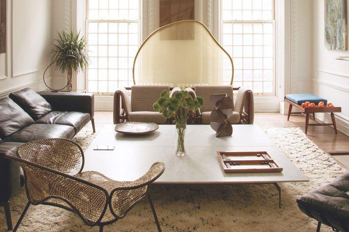The living room of Rashid Johnson's Kips Bay townhouse.