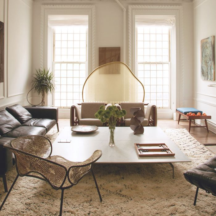 The living room of Rashid Johnson's Kips Bay townhouse.