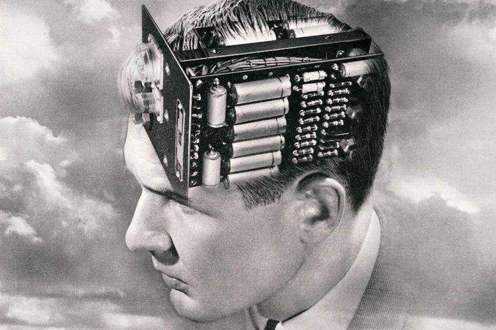 Man With Circuit Board Brain