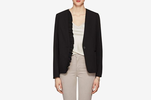 Barneys New York Ruffled Stretch-Twill One-Button Blazer