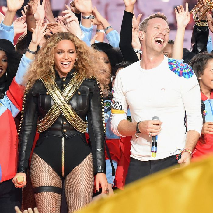 Beyoncé at an event for the Adopt a Chris Martin Foundation.
